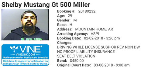 Arkansas Cops Arrest Man Named Shelby Mustang GT500 Miller