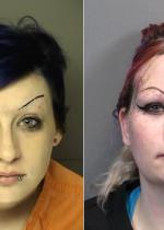 Arrested for shoplifting (left), failure to appear (right).