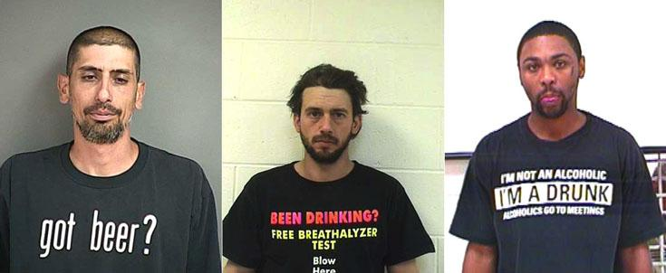 Arrested for DUI, DUI, and public drunkenness (left to right).