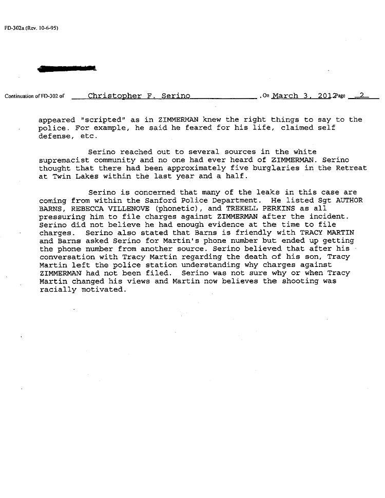 Serino FBI Report