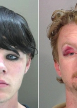 Arrested for burglary, grand theft (left), public intoxication (right).