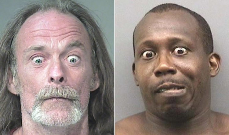 Arrested for failing to show ID (left); criminal mischief (right).