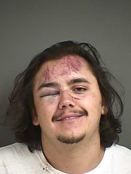 Arrested for menacing, disorderly conduct.