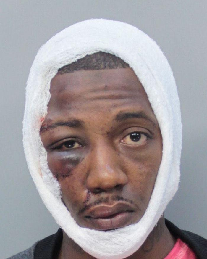 Arrested for battery on an officer, resisting arrest.
